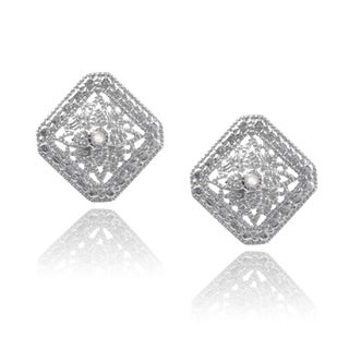 Journee Collection Sterling Silver Diamond Accent Square Stud Earrings