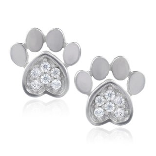 Journee Collection Sterling Silver Cubic Zirconia Bear Paw Stud Earrings