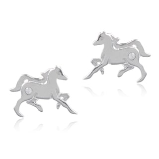 Journee Collection Sterling Silver Cubic Zirconia Horse Stud Earrings