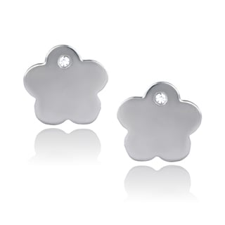 Journee Collection Sterling Silver Cubic Zirconia Flower Stud Earrings