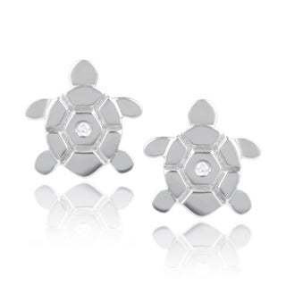 Journee Collection Sterling Silver Cubic Zirconia Turtle Stud Earrings
