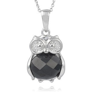 Journee Collection Sterling Silver Cubic Zirconia Owl Pendant