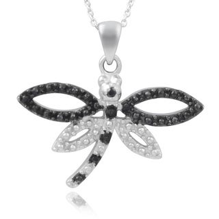 Journee Collection Sterling Silver Black Diamond Accent Dragonfly Necklace