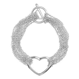 Journee Collection Sterling Silver Multi-chain Heart Bracelet