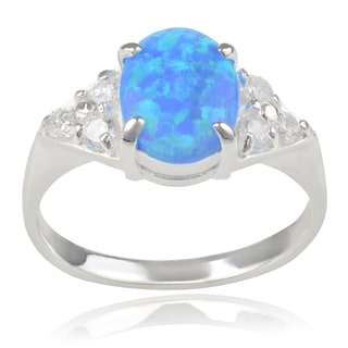 Journee Collection Sterling Silver Cubic Zirconia and Opal Ring