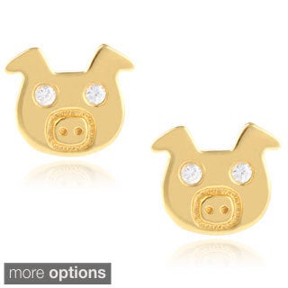 Journee Collection Sterling Silver Pig Cubic Zirconia Stud Earrings
