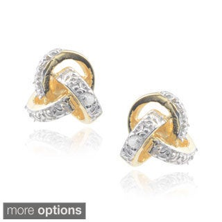 Journee Collection Sterling Silver Cubic Zirconia Knot Stud Earrings
