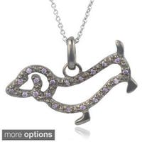 Journee Collection Sterling Silver Cubic Zirconia Dog Pendant