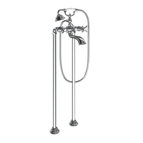Moen Weymouth Wall Mounted Clawfoot Tub Filler with Built-In Diverter, Cross Handles, and Hand Shower Chrome - N/A