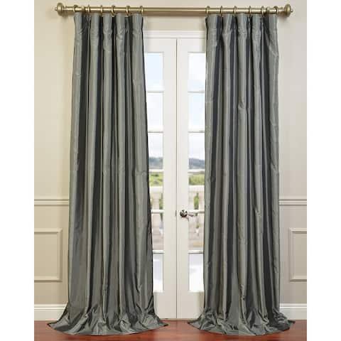 Exclusive Fabrics Silver Shadow Blackout Faux Silk Curtain