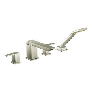 Moen 90-degree Roman Tub Faucet Trim with Personal Hand Shower and Built-In Diverter Brushed Nickel
