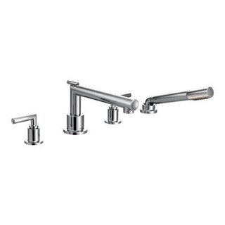 Moen Arris Chrome Two-handle Diverter Roman Tub Faucet with Hand Shower