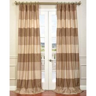Exclusive Fabrics Brown Faux Silk Taffeta Stone Cafe Curtain Panel