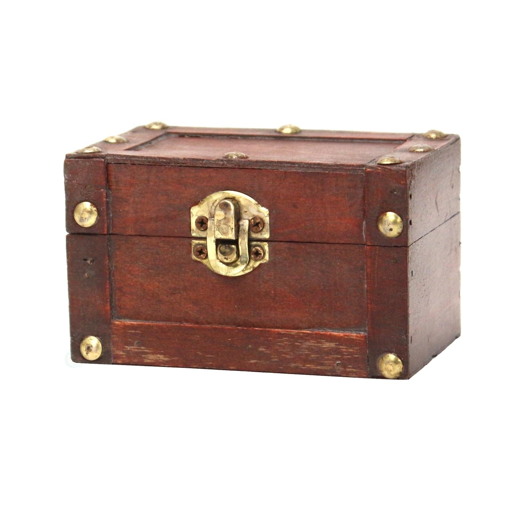 Vintiquewise Small Mini Treasure Decorative Chest - brown...
