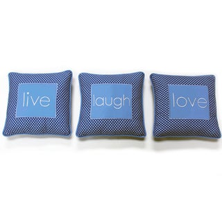 One Grace Place Simplicity Blue 'Live, Laugh, Love' Decorative Throw Pillow
