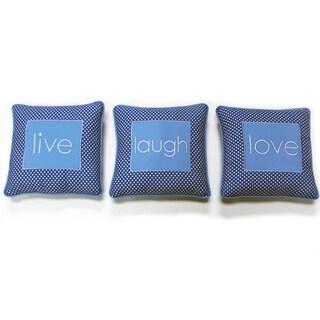 One Grace Place Simplicity Blue 'Live, Laugh, Love' Decorative Throw Pillow