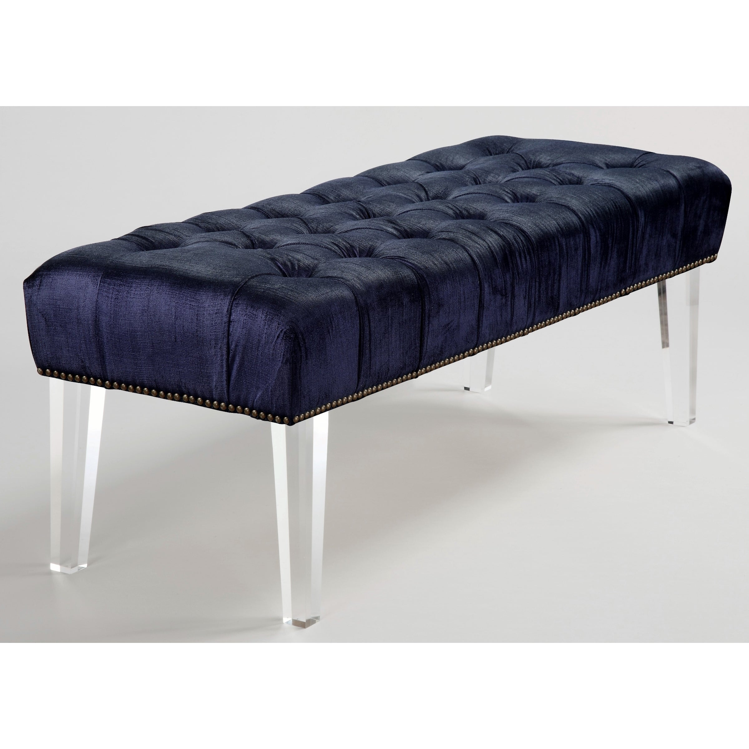 TOV Furniture Stella Navy Velvet Acrylic Bench, Blue (Foam)
