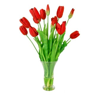 Creative Displays Long Stem Red Tulips in Glass Vase with Acrylic Water