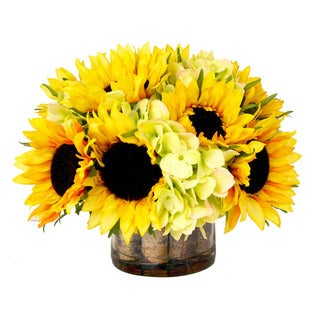 Creative Displays Sunflowers and Green Hydrangea in Glass Accented with Birch and Acrylic Water