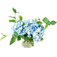 Creative Displays Blue Hydrangea in Glass Pot with Acrylic Water