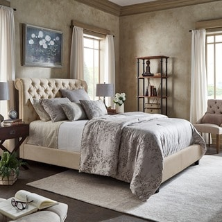Knightsbridge Beige Linen Rolled Top Tufted Chesterfield Platform Bed by iNSPIRE Q Artisan