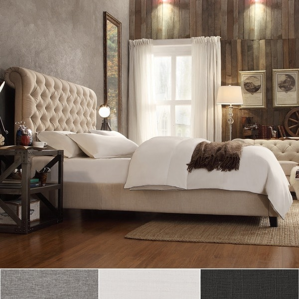 Knightsbridge rolled top tufted chesterfield king bed by signal hills free shipping today Bedroom furniture chesterfield