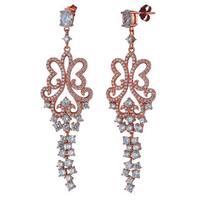 Suzy Levian Rose Goldtone Sterling Silver Cubic Zirconia Dangle Butterfly Earrings