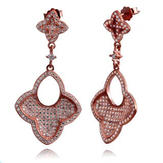 Suzy Levian Rose Goldtone Sterling Silver Cubic Zirconia Concave Dangle Earrings