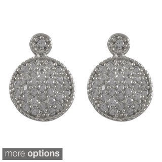 Luxiro Sterling Silver Cubic Zirconia Circle Pave Drop Earrings