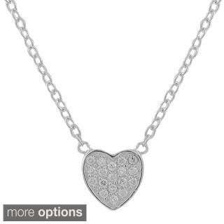 Luxiro Sterling Silver Cubic Zirconia Pave Heart Necklace