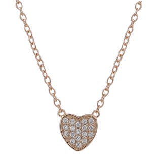 Luxiro Sterling Silver Cubic Zirconia Pave Heart Necklace (Option: Rose Gold)