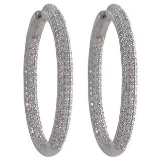Luxiro Sterling Silver Pave Cubic Zirconia 33mm Hoop Earrings