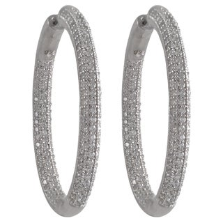 Luxiro Sterling Silver Pave Cubic Zirconia 33mm Hoop Earrings