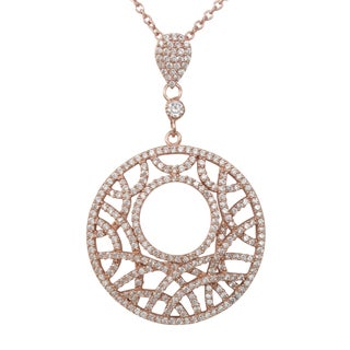 Luxiro Sterling Silver Cubic Zirconia Filigree Abstract Circle Necklace