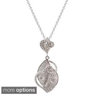 Luxiro Sterling Silver Pave Cubic Zirconia Filigree Swirl Graduated Teardrop Necklace