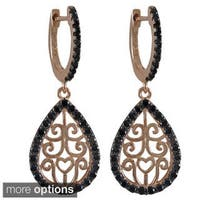 Luxiro Sterling Silver Cubic Zirconia Filigree Teardrop Earrings