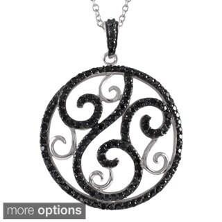 Luxiro Sterling Silver Cubic Zirconia Open Circle Filigree Swirl Necklace