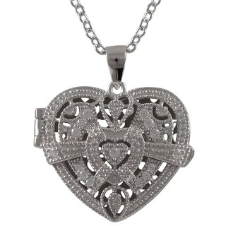 Luxiro Sterling Silver Cubic Zirconia Filigree Heart Locket Necklace