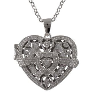 Luxiro Sterling Silver Cubic Zirconia Filigree Heart Locket Necklace|https://ak1.ostkcdn.com/images/products/9826954/P16991337.jpg?impolicy=medium
