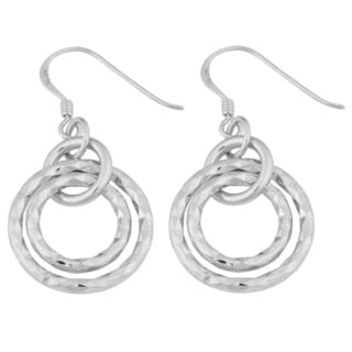 Argento Italia Sterling Silver Diamond-cut Graduated Circle Dangle Earrings