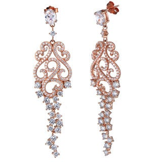 Link to Suzy L. Rose Goldtone Sterling Silver Cubic Zirconia Floral Swirl Dangle Earrings Similar Items in Earrings