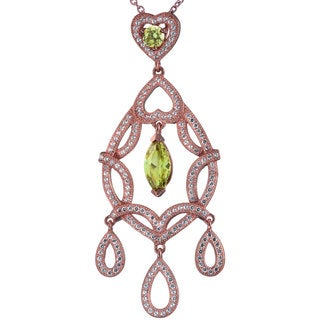 Suzy Levian Rosed Sterling Silver Double Heart Dangling CZ Pendant