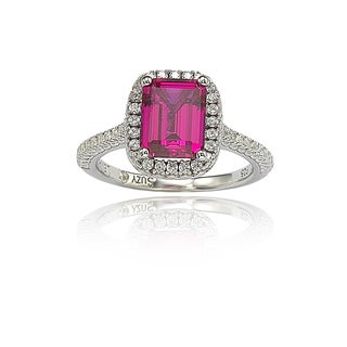 Suzy Levian Sterling Silver Asscher-cut Created Ruby Cubic Zirconia Halo Ring