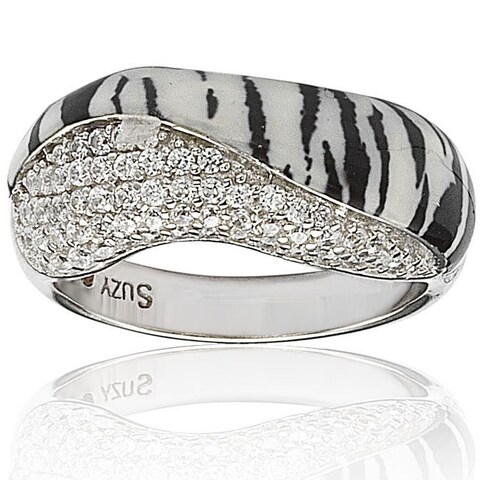 Suzy Levian Wild Side Sterling Silver Cubic Zirconia White Tiger Ring