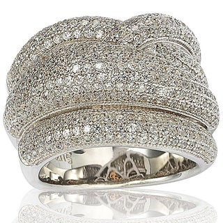 Suzy Levian Sterling Silver Micro Pave Cubic Zirconia Crossover Wide Band Ring