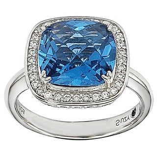 Suzy Levian Sterling Silver Blue and White Cubic Zirconia Halo Ring