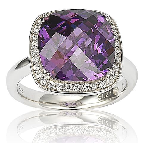 Suzy Levian Sterling Silver Purple and White Cubic Zirconia Halo Ring