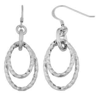 Argento Italia Sterling Silver Diamond-cut Graduated Oval Drop Earrings