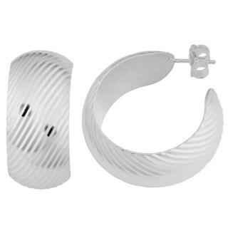 Argento Italia Sterling Silver Striped Bombe Hoop Earrings