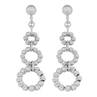 Argento Italia Sterling Silver Diamond-cut Graduated Beaded Circles Drop Earrings